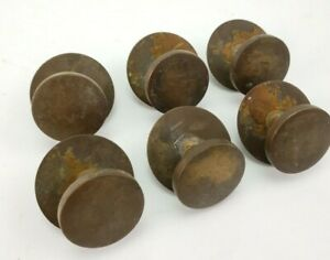 6 Antique Art Deco Reclaimed Cabinet Drawer Pull Knobs Handles Solid Brass