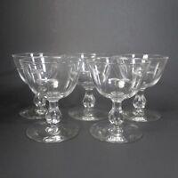 Libbey STARGLOW Sherbet Champagne Glasses Set of 5 Cut Glass Star Starburst