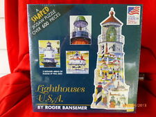 Lighthouse USA Shaped PUZZLE over 600 pieces by Roger Bansemer Complete Sealed