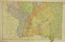 1912 LARGE ANTIQUE MAP ~ GERMANY SOUTH WEST