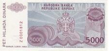 BOSNIA HERZEGOVINA 5000 5,000 DINARA 1993 UNC REPLACEMENT P.149 Z LOW SERIAL #