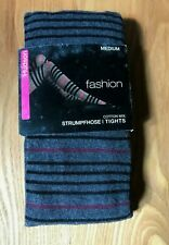 "Hudson "" Fashion "" Tights Baumwoll-Strick/Grey with Stripes / Size"