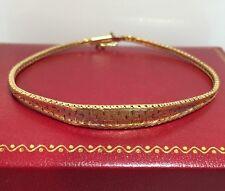 "14k Yellow White Rose Tri Multi Gold Diamond Cut Panther Weave Bracelet 7.25"""