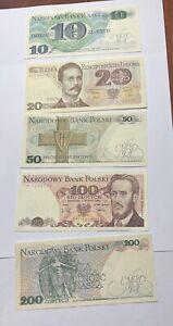 5 Notes NARODOWY BANK POLSKI BANKNOTE POLAND Uncirculated