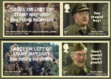 DADS ARMY 2018 SMILERS Set of Two SINGLE LITHO STAMPS + LABELS