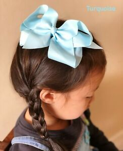 """6"""" TURQUOISE Hair Bows Clip Jojo Style for Girls Teens Kids School Dance Party"""