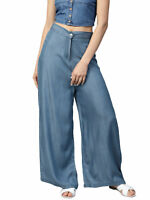 Women Blue Solid Denim Parallel Trousers High Wide Long Comfortable Palazzo