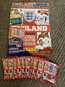 ENGLAND PANINI EURO 2016 STARTER PACK AND 10 UNOPENED STICKER PACKETS