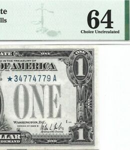 1928B $1 * STAR * ⭐️ SILVER CERTIFICATE, PMG CHOICE UNCIRCULATED 64 BANKNOTE