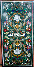 4'x2' Green Marble Dining Table Top Multi Stone Birds Floral Inlay Decor H3335