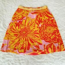 Edme Esyllte Skirt Size 0 Orange Yellow Pink Floral A Line Anthropologie LInen