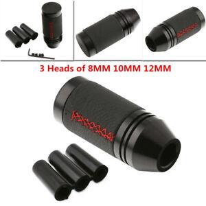 8MM 10MM 12MM Universal Manual Car Gear Shift Knob Shifter Lever Black Leather