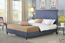 BLUE Fabric Rolled Top KING Size Platform Bed Frame & Slats Modern Home Bedroom