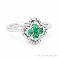 Right-Hand Flower Ring in 18k White Gold 0.54 ct Emerald Cluster & Diamond Pave