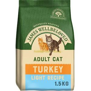 1.5kg James Wellbeloved Light Adult Dry Cat Food Biscuits Turkey