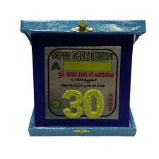 30 ANNI targa degli auguri compleanno personalizzabile azzurra glitter 14x14 cm