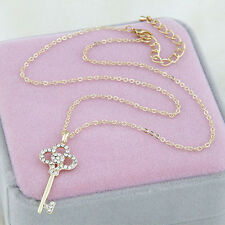 Women Girl Lady Key Rhinestone Crystal Gold Chain Pendant Necklace Gift