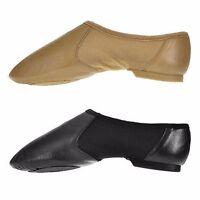 Black Tan Hyper Slip On Jazz Shoes with Split Rubber Sole
