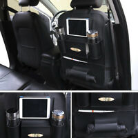 Car Seat Back Hanging Organizer Bag Universal PU Leather Pad Cups Storage Bag