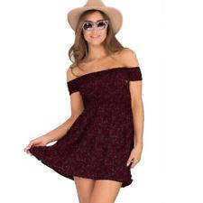 Women Off Shoulder Summer Beach Mini Sundress Party Casual Holiday Dress Tops
