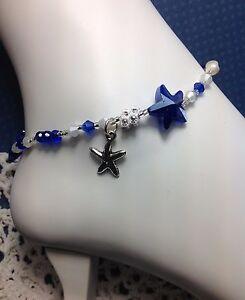 Handmade Pearl Blue Starfish Ankle Bracelet/Anklet W/Swarovski Elements USA