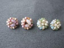2 Vintage wired glass & pearly beads earrings One marked Japan