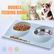 Stainless Steel Double food Bowl Pet Puppy Cat Food Water Dish Feed Feeder