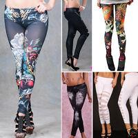 Punk Rock Jean Sexy Jegging Legging Sexy Stripes Tattoo Denim Stretch Pants OS