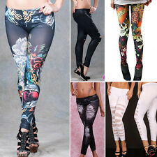 Punk Rock Jean Sexy Jegging Legging Sexy Stripes Tattoo Denim Stretch Pants OS