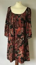 Monsoon Black Red Mix 3/4 Sleeved Dress Size 10