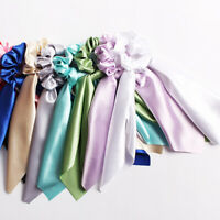 Bow Hair Rope Women Long Ribbon Satin Ponytail Scarf Elastic Hair Tie Scrunchies