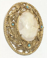 VINTAGE FLORENZA VICTORIAN REVIVAL CARVED SHELL CAMEO TURQ FLORAL BROOCH PIN
