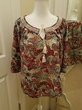 Lucky Brand Med Floral boho Peasant Top Embroidered Tassels EUC