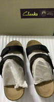 Womens Clarks Artisan Sandals Femme Size 7.5 M Black Leather Wedge Heel