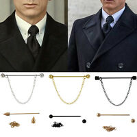 Mens Gold Collar Pin Screw End Chrome Stainless Steel 5.5CM Tie Bar Chain