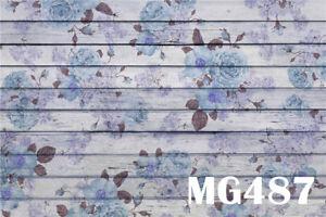 7x5FT Vintage Flowers Wooden Floor Polyester Photo Background Studio Backdrop LB