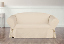 Sure Fit Cotton Duck Sofa Box Cushin Style in Natural
