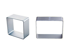 Square & Rectangle Shapes Cookie Cutter Metal Biscuit Pastry Cake Jelly 2pcs Set