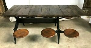 1890's IndustrialTable with 6 Swing Seats/Stools, Country/General store, Mancave