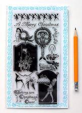 "Clear Stamps Lot (4""x7"") Christmas Pie Santa FLONZ Vintage 283 Rubber Acrylic"