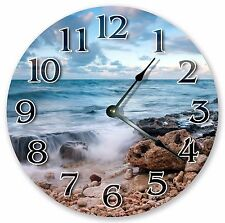 "10.5"" BEACH ROCKS NATURES VIEW  CLOCK - Large 10.5"" Wall Clock - Home Décor 3234"