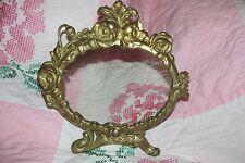 Vintage Brass Vanity Stand Dresser Mirror ~ Ornate Floral Decor