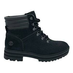 TIMBERLAND LONDON SQUARE MID HIKER BLACK LEATHER WOMEN'S BOOTS SIZE US 9