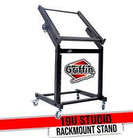 Rack Mount Rolling Stand & Adjustable Mixer Platform Rails by GRIFFIN | 19U Cart