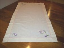 Vintage Cotton Table Runner/Dresser Scarf with Purple Flowers