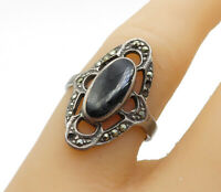 925 Sterling Silver - Vintage Black Onyx & Marcasite Cocktail Ring Sz 7 - R13927