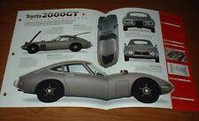 ★★1967 TOYOTA 2000GT ORIGINAL IMP BROCHURE SPECS INFO 67 68 69 70 2000 GT★★
