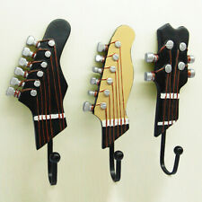 3Pcs Guitar Head Music Resin Clothes Hat Scarf Hanger Wall Hook Home Decor