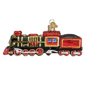 RED TRAIN LOCOMOTIVE OLD WORLD CHRISTMAS GLASS ORNAMENT NWT 46080