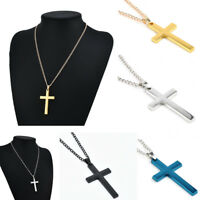 Vintage Retro Men's Titanium Steel Cross Charm Pendant Chain Necklace Jewelry